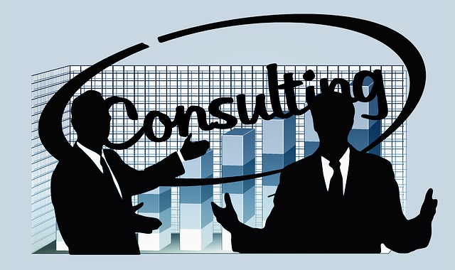 Stock illustration of two consultants consulting
